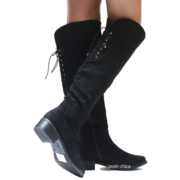 e74b471e933 New Black Lace Up Over Knee Western Riding Boots